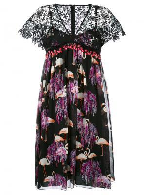 Платье с V-образным вырезом и принтом Giamba. Цвет: чёрный