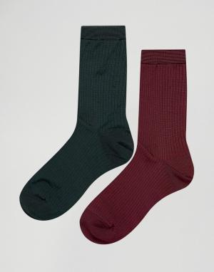 Pieces 2 пары носков. Цвет: красный