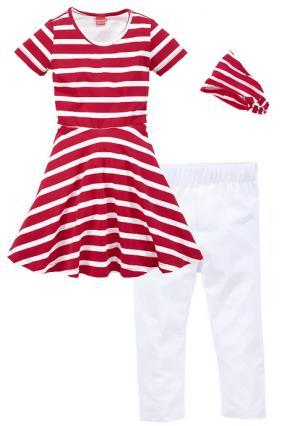 Комплект: платье + повязка на голову легинсы KIDOKI. Цвет: красный в полоску