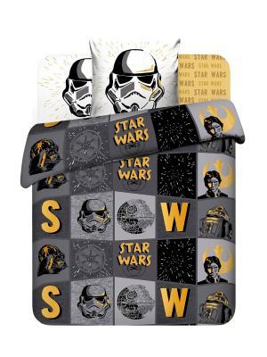 Комплект постельного белья из поплина, Дисней Звездные войны Василек. Цвет: желтый, серый