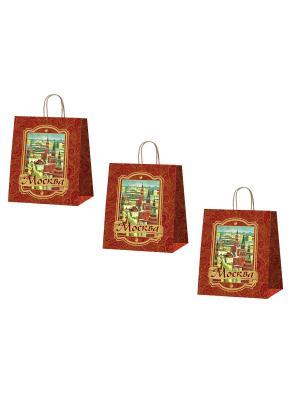 Набор подарочных пакетов Москва Даринчи. Цвет: коричневый