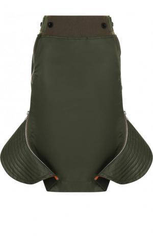 Однотонная юбка-миди с оборками Sacai. Цвет: хаки