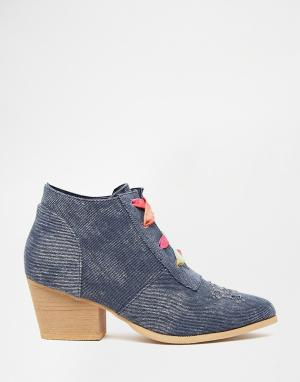 YRU Ботильоны на каблуке и шнуровке Aura. Цвет: синий
