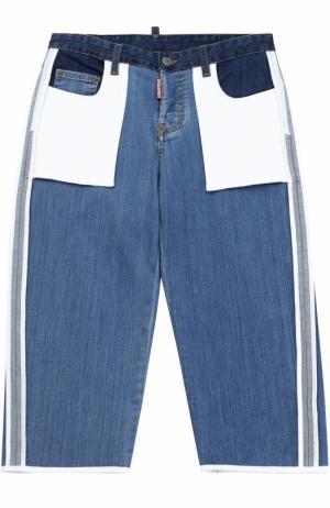 Комбинированные джинсы с накладными карманами и лампасами Dsquared2. Цвет: синий
