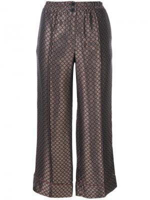 Укороченные жаккардовые брюки Erika Cavallini. Цвет: синий