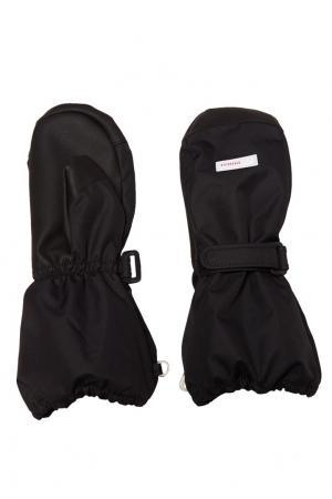 Черные варежки с липучкой Reima. Цвет: черный