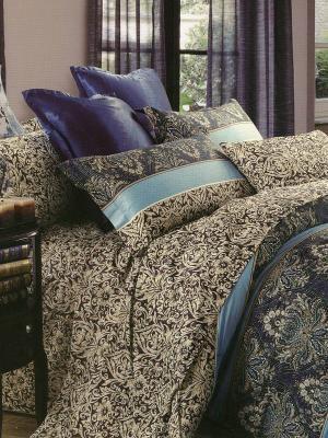 Комплект постельного белья Саламон Sofi de Marko. Цвет: темно-синий, голубой, фиолетовый, бежевый