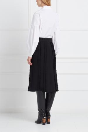 Шерстяная юбка LAROOM. Цвет: черный