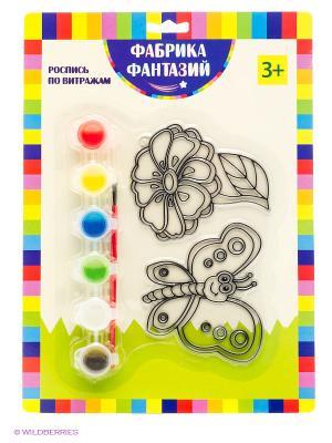 Набор для росписи витража Бабочка и цветок Фабрика Фантазий. Цвет: зеленый