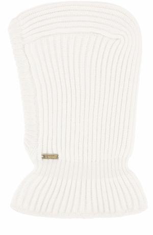 Шерстяная шапка фактурной вязки с воротником Il Trenino. Цвет: белый