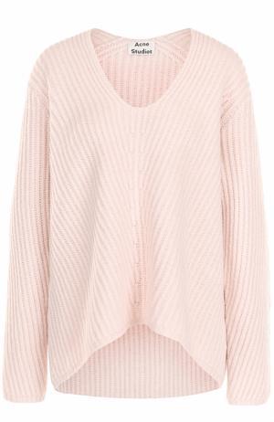 Шерстяной пуловер фактурной вязки с V-образным вырезом Acne Studios. Цвет: розовый