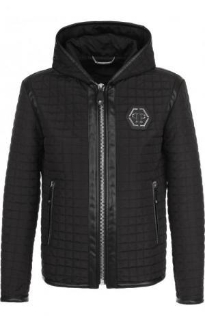 Куртка на молнии с капюшоном Philipp Plein. Цвет: черный
