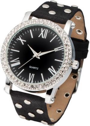 Наручные часы с заклепками (черный/серебристый) bonprix. Цвет: черный/серебристый