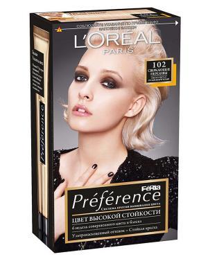 Стойкая краска для волос Preference Feria, оттенок 102, Сверкающие переливы L'Oreal Paris. Цвет: светло-бежевый
