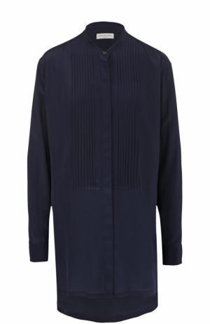 Шелковая блуза свободного кроя Dries Van Noten. Цвет: темно-синий