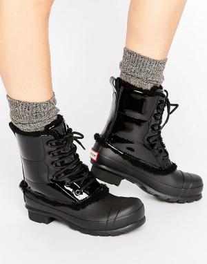 Hunter Оригинальные кожаные ботинки на шнуровке. Цвет: черный