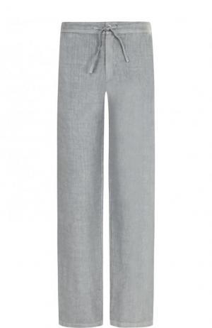 Льняные брюки прямого кроя с поясом на кулиске 120% Lino. Цвет: серый