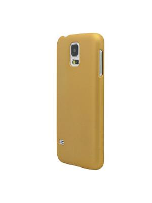 Чехол для Samsung Galaxy S5, прорезиненный Soft-Touch пластик, золотой Belsis. Цвет: золотистый