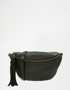 ASOS Классическая кожаная сумка-кошелек на пояс. Цвет: черный
