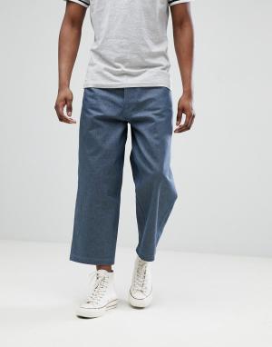 ASOS Серые укороченные джинсы с широкими штанинами DESIGN. Цвет: серый