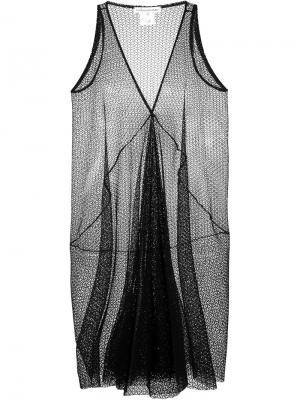 Прозрачное платье c V-образным вырезом Stefano Mortari. Цвет: чёрный