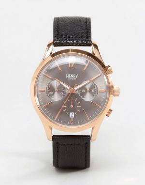 Henry London Часы с хронографом на кожаном ремешке Finchley. Цвет: черный