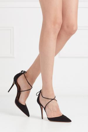 Замшевые туфли Matilde Aquazzura. Цвет: черный