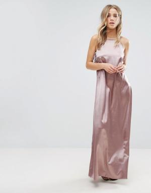 Glamorous Длинное платье-комбинация. Цвет: фиолетовый