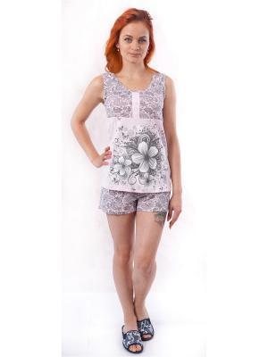 Пижама (футболка,шорты) Валерия 37. Цвет: серый, бледно-розовый