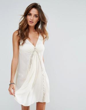 Surf Gypsy Пляжное платье с отделкой кроше. Цвет: кремовый