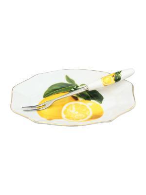 Тарелочка под лимон Лимоны  с вилкой Elan Gallery. Цвет: белый, желтый