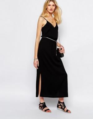 Sessun Черное платье макси с завязкой. Цвет: черный