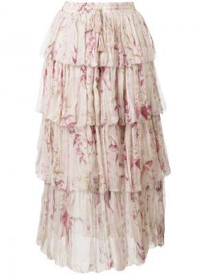 Юбка с оборками Winsome Zimmermann. Цвет: розовый и фиолетовый