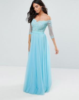 Forever Unique Платье макси с рукавами 3/4 и открытыми плечами. Цвет: синий