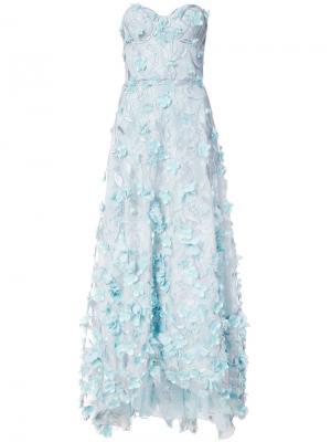 Вечернее платье с вышивкой и цветочной аппликацией Marchesa Notte. Цвет: синий