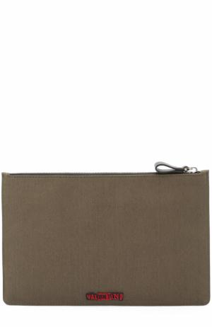 Текстильный несессер на молнии с аппликацией Valentino. Цвет: хаки