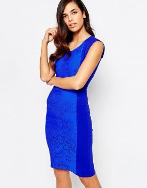 Amy Childs Платье миди с кружевной вставкой Yolanda. Цвет: синий