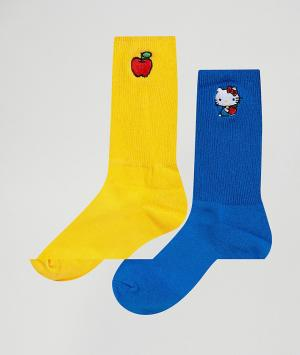 Lazy Oaf 2 пары носков Hello Kitty. Цвет: мульти