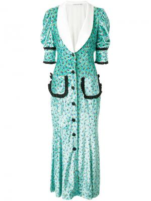 Платье-рубашка с цветочным принтом Alessandra Rich. Цвет: многоцветный