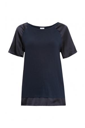 Блуза из хлопка и модала с шелковыми вставками 149514 Les Tendances. Цвет: синий