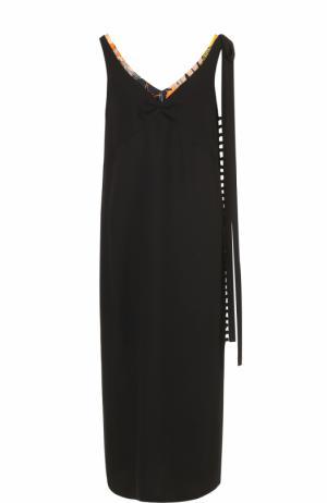 Платье прямого кроя с яркой отделкой выреза Dries Van Noten. Цвет: черный