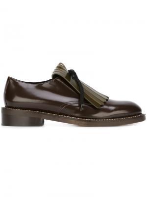 Туфли Дерби с бахромой Marni. Цвет: коричневый