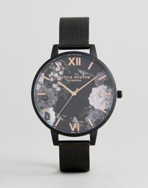 Olivia Burton Черные часы с сетчатым ремешком OB16AD21. Цвет: черный