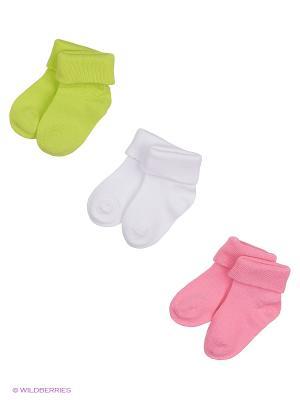 Носки детские трикотажные для девочек, 3 пары в комплекте PlayToday. Цвет: белый, салатовый