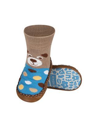 Тапочки-носочки детские SOXO. Цвет: коричневый, голубой, бежевый