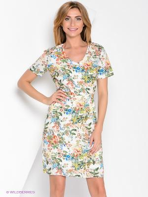 Платье Yuka. Цвет: молочный, зеленый