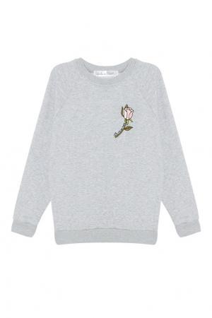 Меланжевый свитшот с вышивкой Girls In Bloom. Цвет: серый