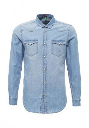 Рубашка джинсовая United Colors of Benetton. Цвет: голубой