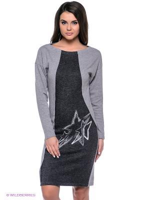 Платье Grishko. Цвет: серый меланж