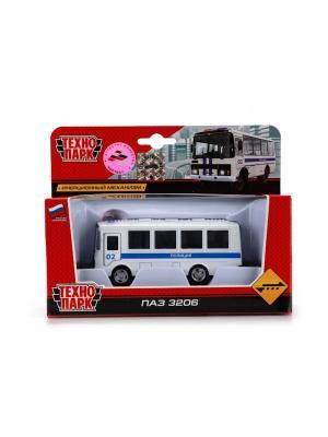 Автобус Технопарк металлический, инерционный ПАЗ. Полиция.. Цвет: белый, синий